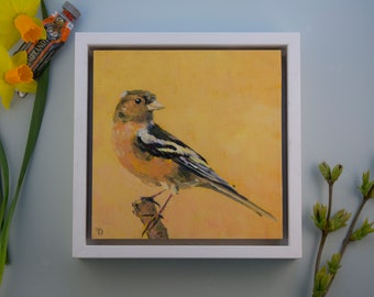 """Original Painting Finch / oil paint on wooden panel / handmade and unique bird painting / 15x15cm 6x6"""" / frame size: 18x18cm 7,2x7,2"""""""