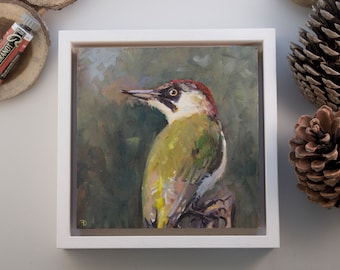 """Original Painting Woodpecker / oil paint on wooden panel / handmade and unique bird painting / 15x15cm 6x6"""" / frame size: 18x18cm 7,2x7,2"""""""