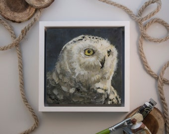 """Original Painting Snow Owl / oil paint on wooden panel / handmade and unique bird painting / 15x15cm 6x6"""" / frame size: 18x18cm 7,2x7,2"""""""