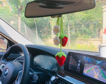 2 Pcs cute Strawberry Car Mirror Hanging Flower Decor Teens Interior Rear View Mirror Accessories for Women Charm Fruit