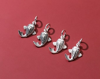 2/10pcs Sterling Silver Whale Charm, s925 Silver Animal Charms For Jewelry Making Supplies, Bracelet Charm, Earring Charm DIY