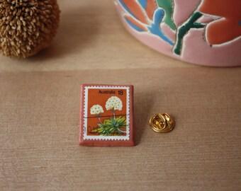 Vintage Postage Stamp Pin Badge Handmade Clay Pin Used Postage Stamps Vintage Pin Helichrysum thomsonii Australian wildflower