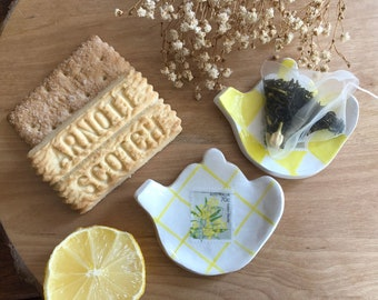 Floral Postage Stamp Tea Bag Holder   Handmade Clay Ring Dish   Small Plate   Teabag Dish   Jewellery Tray   Trinket Dish   Soap Dish