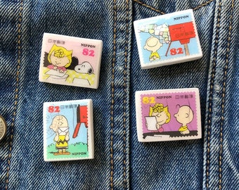 Cute Postage Stamp Pin Badge   Handmade Clay Pin with Used Postage Stamps   Nippon Stamp Pin