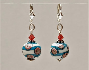 """Earrings """"Turquoise-Coral-Ivory"""""""