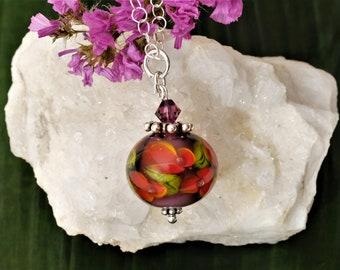 """Chain pendant """"Aubergine-Orange"""""""