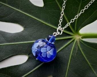 """Chain pendant """"Blue Flowers"""""""