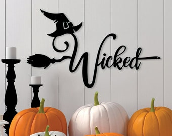 BUY 1 GET 1 Witch Halloween Metal Sign, Witch Broom Sign, Witch Sign, Happy Halloween, Metal Witch Hat Sign, Halloween Decor, Halloween Sign