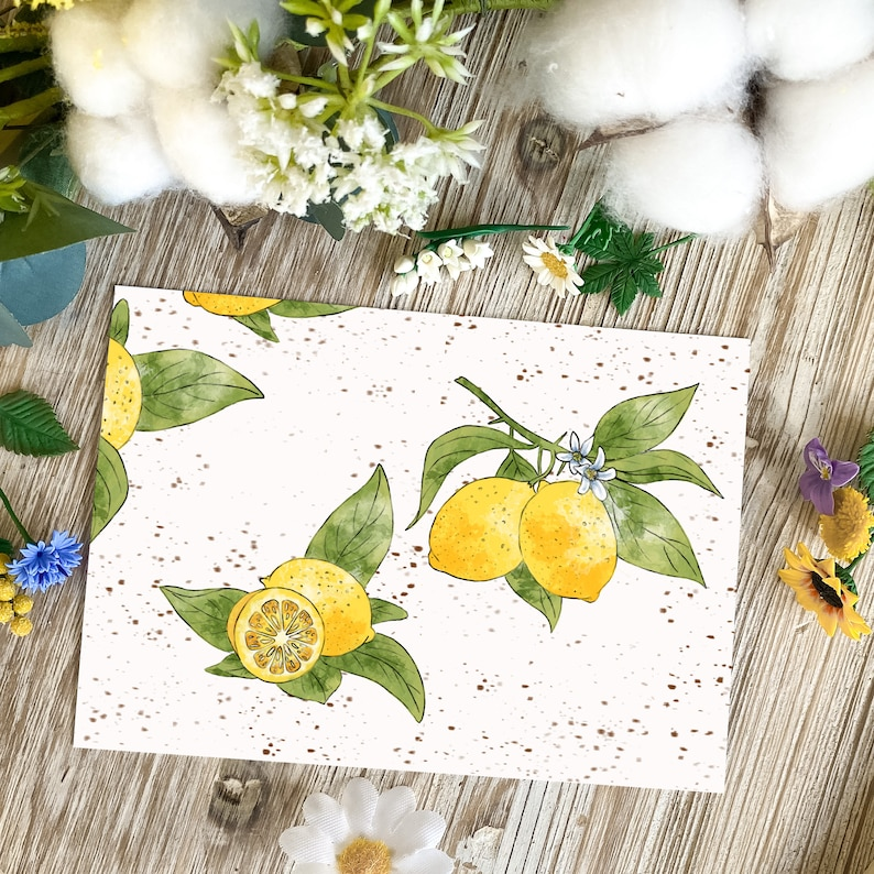 Lemon peps  lemon  postcard  seasonal  spring  watercolor image 0