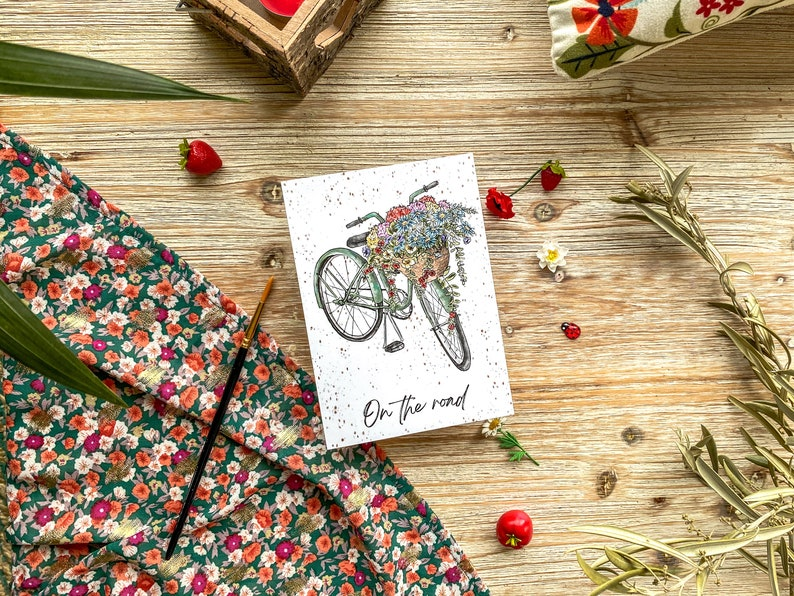 On the road  postcard  seasonal  bike  bicycle  country  image 0