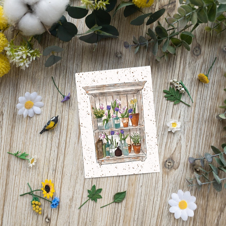 Flower shelf  postcard  seasonal  spring  watercolor  image 0