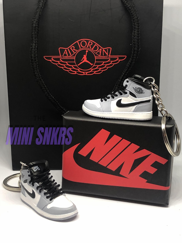 Mini Jordan 1 Keyring Keychain Nike Air Light Smoke Grey 3D Mini Shoe Trainer Box Pair Bag Choice Handmade