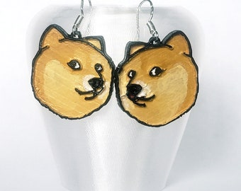 cute shiba inu tongue sticking out earrings  christmas presents  funny jewelry