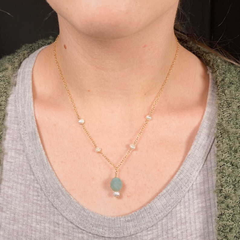 Moon Rock Charm Necklace ~ vintage opalescent czech glass freshwater pearl pendent adjustable gold-filled layering necklace