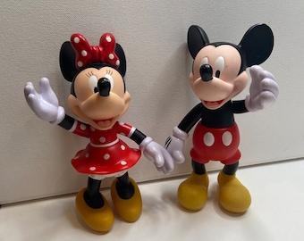 "1972 Vintage Original Mickey & Minnie Mouse PVC Posable Figurines 7.5"""