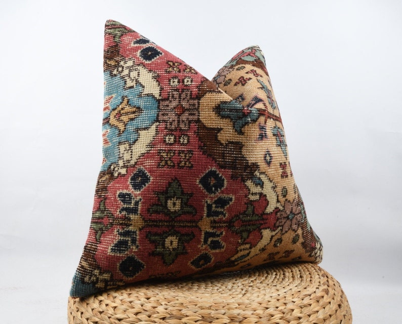 Cushion Cover Pillow Bohemian Kilim Pillow Turkish Carpet Pillow Kilim Pillow Decorative Throw Pillow Boho Decor 24x24 Pillow Case