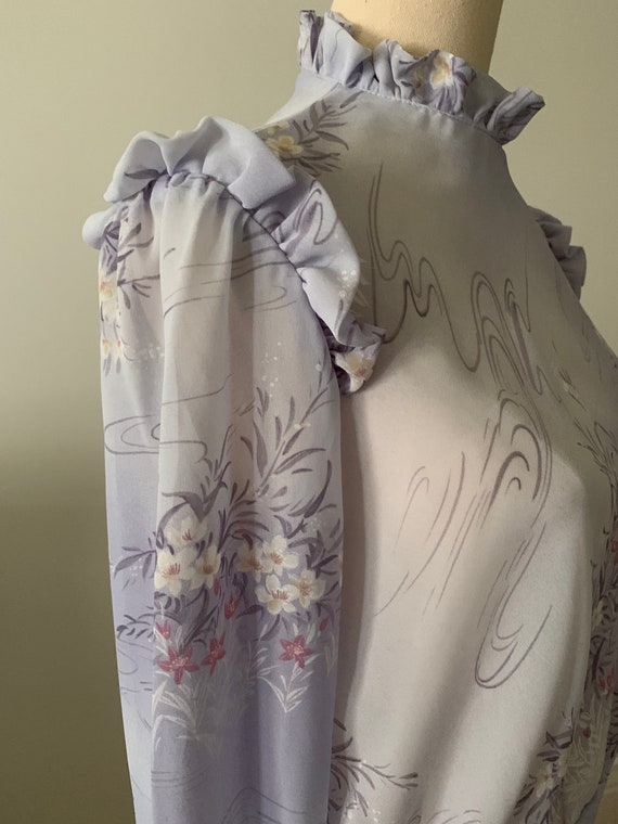 Vintage ruffled blouse, 70s/Victorian style, soft… - image 2
