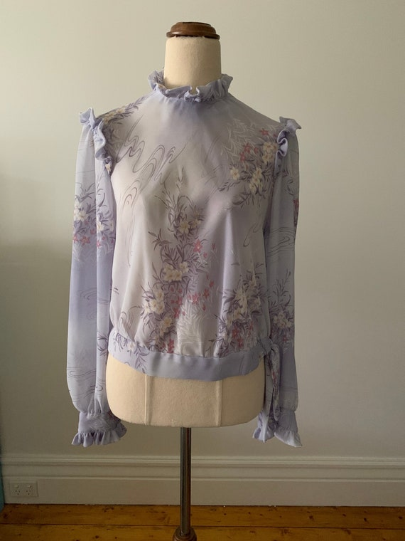 Vintage ruffled blouse, 70s/Victorian style, soft… - image 1