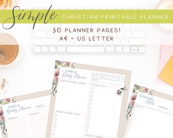 Bible journaling pages and Christian book tracker included!   30 pages of planners and templates   Simple Christian printable planner