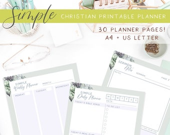 Simple Christian journal   30 pages of undated planners   Includes meal planner and day planner printables with watercolor succulent bouquet