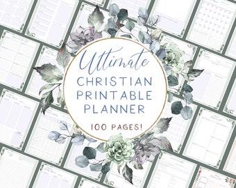 Christian undated planner includes hourly planner, budget planner, Bible journaling sheets, prayer journal   Pretty succulent bouquet design