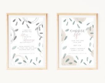 Choose life print set   Printable wall art set of 2. Botanical watercolor faith design. Christian quote wall art   Deuteronomy 30:19-20
