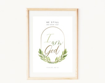 Be still and know that I am God   Kids Bible print   Printable quotes faith design   Botanical wallpaper watercolor scripture   Psalms 46:10