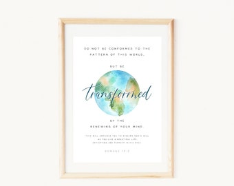 Romans 12:2 bible verse art   Christian Graduation gift for her 2021   Be transformed by renewing your mind   Planet watercolor wallpaper