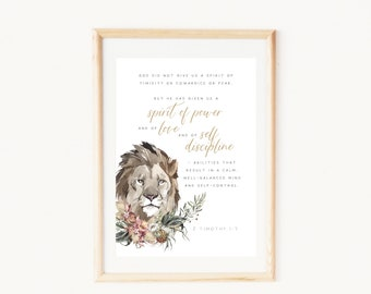 2 Timothy 1:7   Christian printable quotes wall decor   Spirit of power and love and self-discipline   Watercolor lion head and flower art