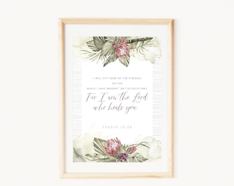 Christian gift for her   Healing prayer wall art   Watercolor native warratah flowers and palm leaves   Printable quotes from Exodus 15:26