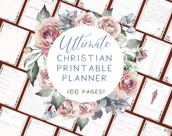 Ultimate Christian printable planner   Pink rose watercolour flowers   100 pages of planners and templates   Bible study planner included!