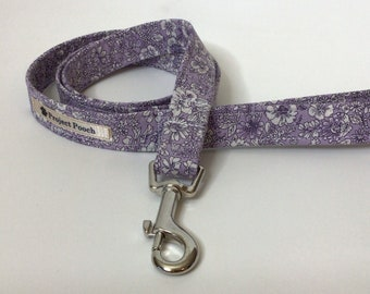 Liberty Dog Lead, Emily Lilac Silhouette, Floral Dog Lead, Lilac Dog Lead, Dog Lead, Dog Leash