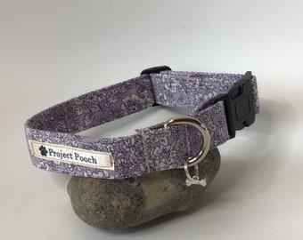 Liberty Dog Collar, Emily Silhouette Lilac, Dog Collar, Vegan Dog Collar, Floral Dog Collar, Liberty Dog Collar in the UK, Adjustable Collar