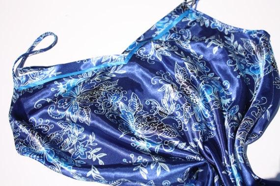 Floral Print Blue Silk Slip Dress - image 5