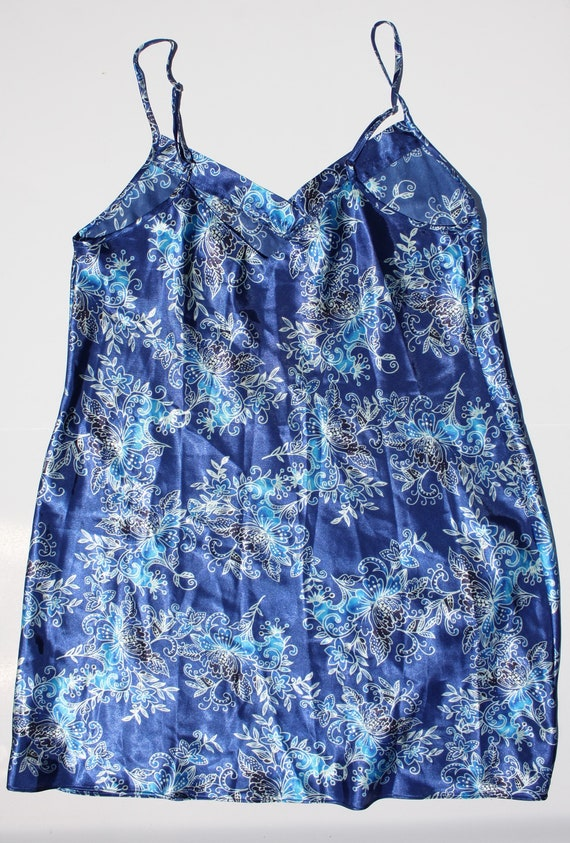 Floral Print Blue Silk Slip Dress - image 4