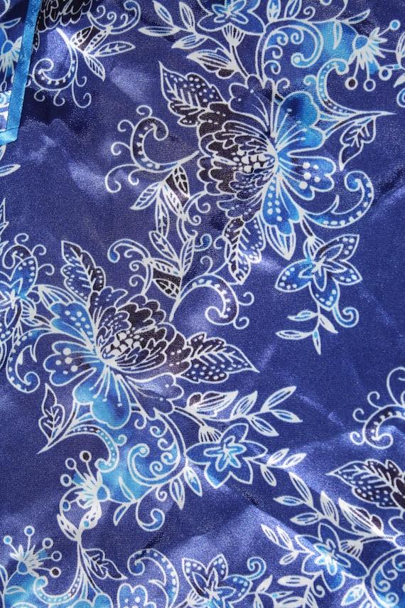 Floral Print Blue Silk Slip Dress - image 7