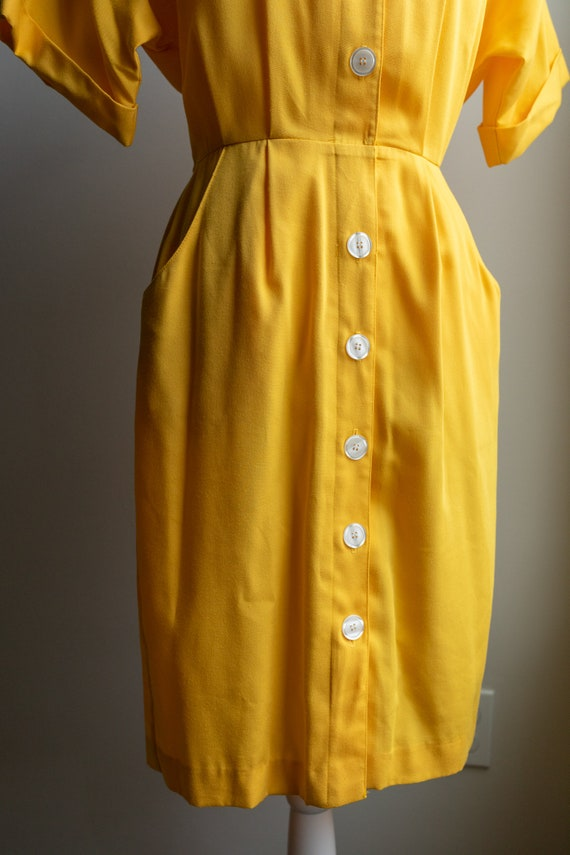 Vintage 80s Bright Yellow Button Dress - image 4