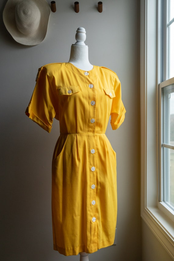 Vintage 80s Bright Yellow Button Dress - image 2