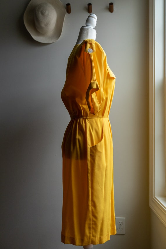 Vintage 80s Bright Yellow Button Dress - image 7
