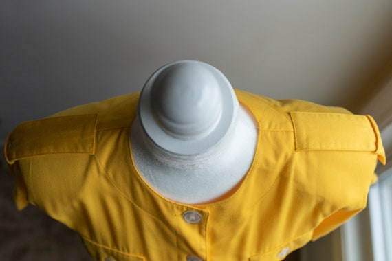 Vintage 80s Bright Yellow Button Dress - image 6