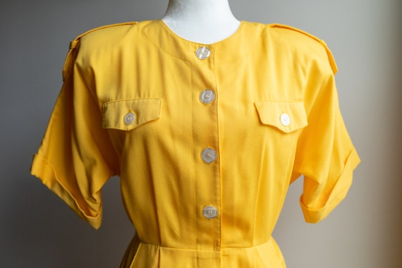 Vintage 80s Bright Yellow Button Dress - image 1
