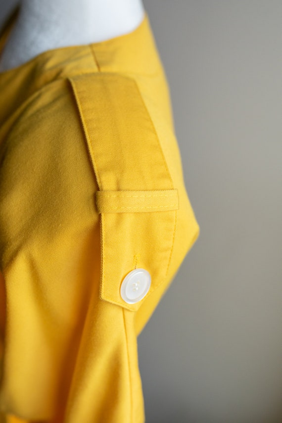 Vintage 80s Bright Yellow Button Dress - image 5