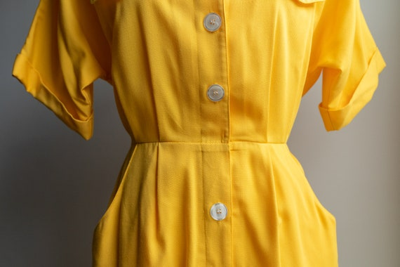 Vintage 80s Bright Yellow Button Dress - image 3