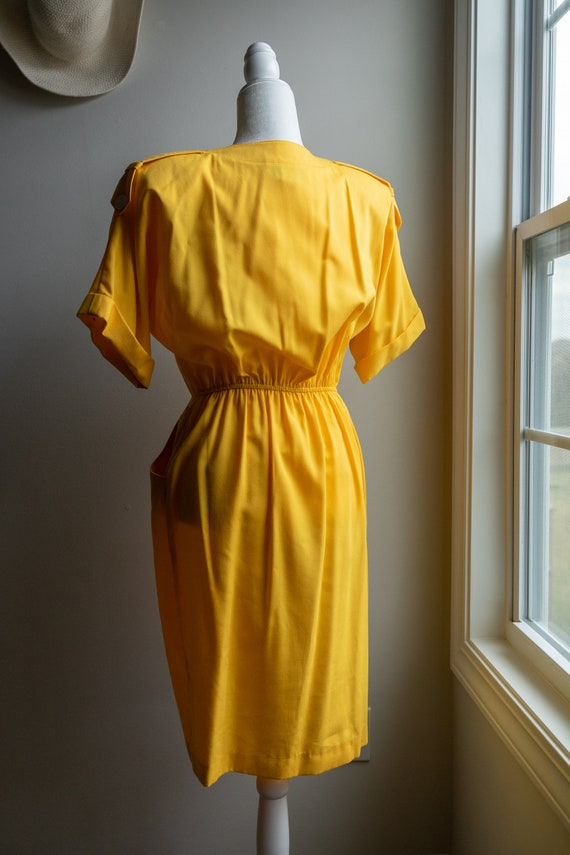 Vintage 80s Bright Yellow Button Dress - image 8
