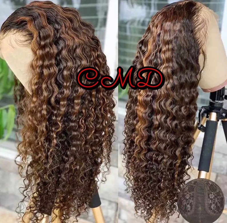 curly Wig 180 /% Density Brazilian Remy hair M cap size ombr\u00e9 highlights T part wig Middle part pre-plucked