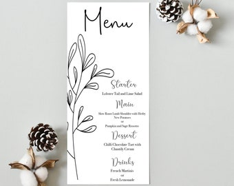 Wedding Menu, Event Menu,Bookmark Menu, Clip Range, Floral,Botanical Minimalistic,theme Stationery, Event, Table Menu,Personalised, PRINTED