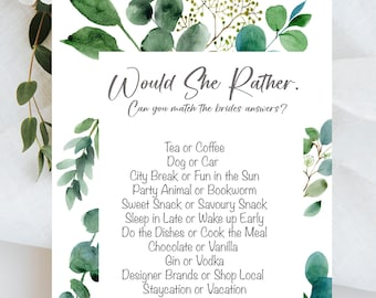 Hen Party Games Would She Rather Game Card Hen Party RHEA Range Accessories Keepsake Gift Hen Party Games Botanical  Bride To Be PK of 10