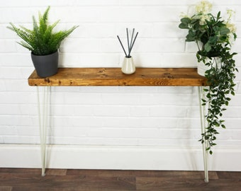 Radiator Console Slimline Table With White Hair Pin Legs | Reclaimed Treated Timber Style | Solid Wood Furniture | 14.4CM X 4.4CM Depth