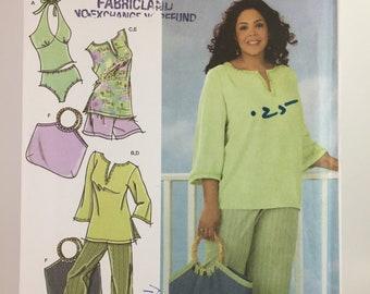 UNCUT Size 18-20-22-24 - PLUS Size Women's Tunic, Cropped Pants or Shorts, Bag & Knit Swimsuit Sewing Pattern - Simplicity 4607 Khaliah Ali