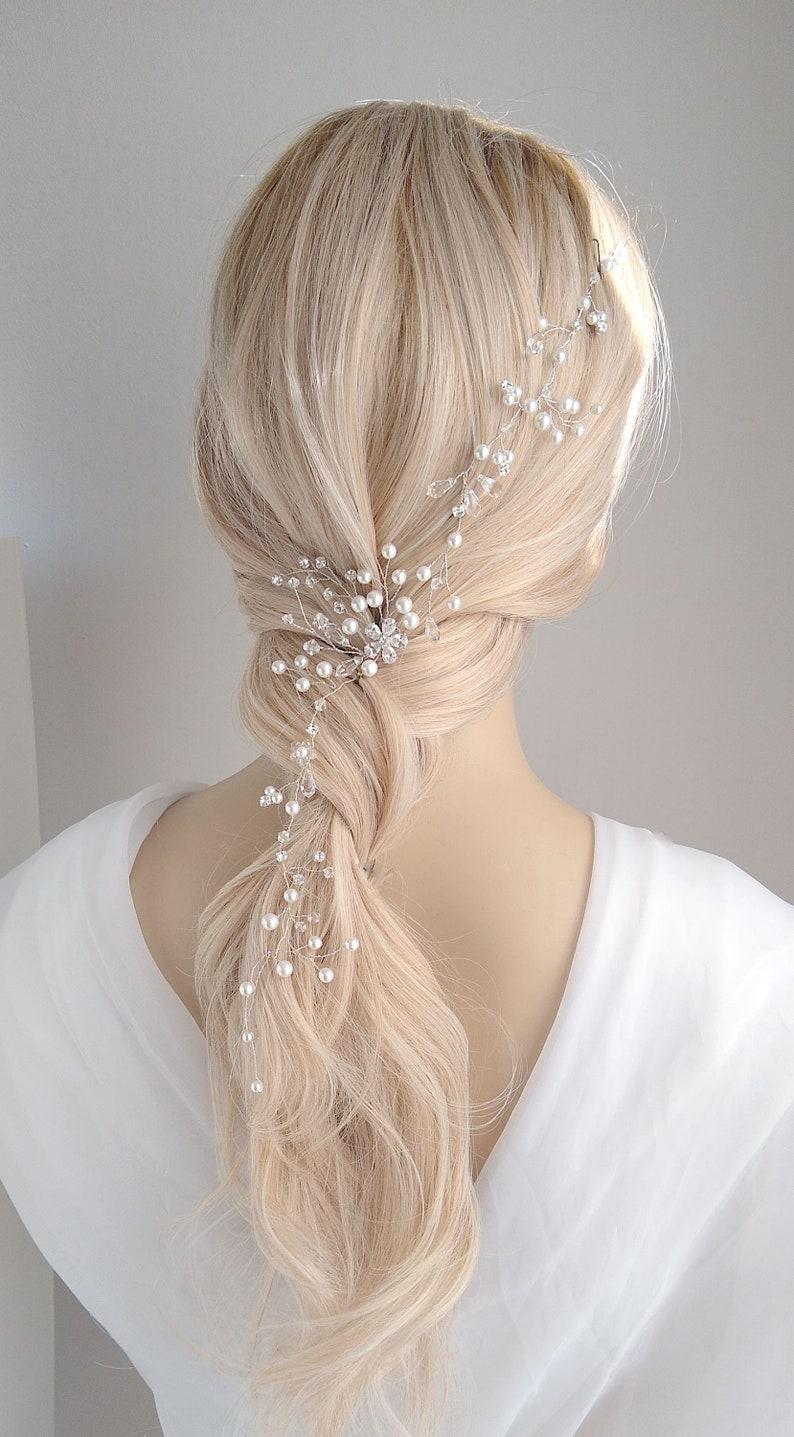 CZ Headband Halo Delicate Floral Headband 11 Rhinestone Headband Floral Pearl Bridal Hair Vine Pearl Vine Wedding Hair Vine